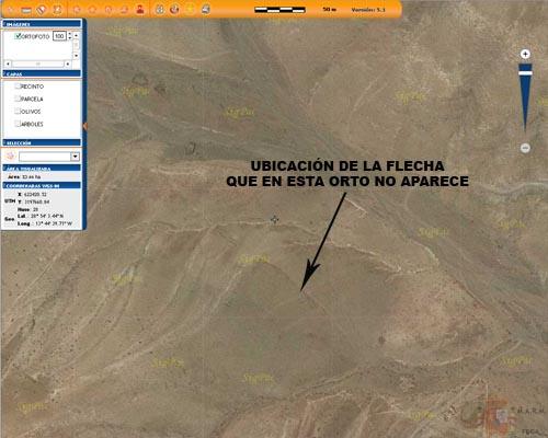 En la zona de los Ajaches no se observa la flecha que se ve actualmente en Google Earth