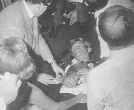 El cuerpo de Robert Kennedy tras el atentado contra su vida