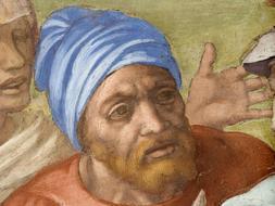 Imagen del autorretrato de Miguel Ángel descubierto en el fresco de la Crucifixión de San Pedro en la Capilla Paulina de El Vaticano /EFE