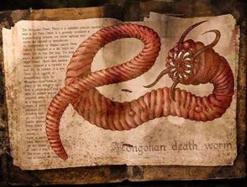 """Ilustración exagerada del """"Gusano de la muerte mongol"""""""