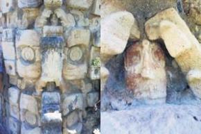 Un señor o rey maya, que contiene una gran cantidad de joyas de jade, vasijas