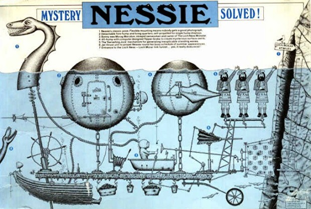 Nessie Mystery Solved postcard, Roger Latham, 1986